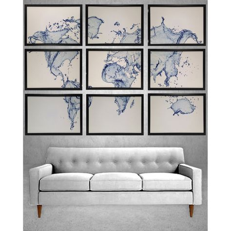 Large world map framed 9 pieces total water splash map framed in large world map framed 9 pieces total water splash map framed in black gumiabroncs Choice Image