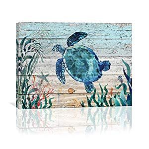 Home Wall Art For Bathroom Sea Turtle Wall Decor Bathroom Decor Prints Canvas Wall Art Ocean Decor Small Framed Artwork For Walls Vintage Paintings On Canvas Pr In 2020 Sea Turtle