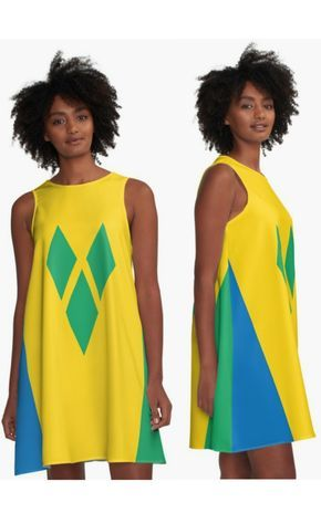St Vincent And The Grenadines National Flag A Line Dress By Identiti Saint Vincent And The Grenadines Flag Dress Flag Outfit