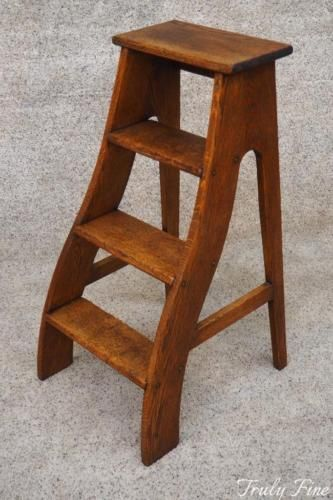 Authentic Victorian Library Kitchen Steps Ladder Antique Oak Kitchen Step Ladder Victorian Library Step Ladders