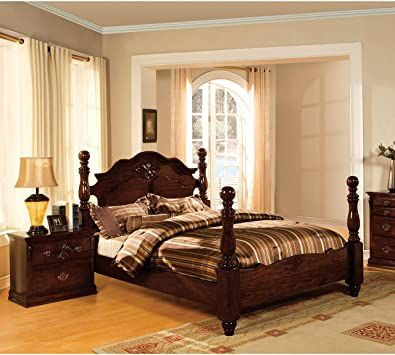 Furniture Of America Weston Traditional 2 Piece Glossy Dark Pine Poster Bedroom Set Gold California King King Size Bedroom Sets Bedroom Set Wood Bedroom Sets