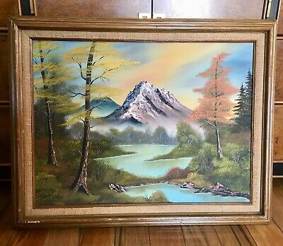 Details About Landscape Oil Painting Signed Karp Mountain River Trees Oil Painting Landscape Painting Oil Painting