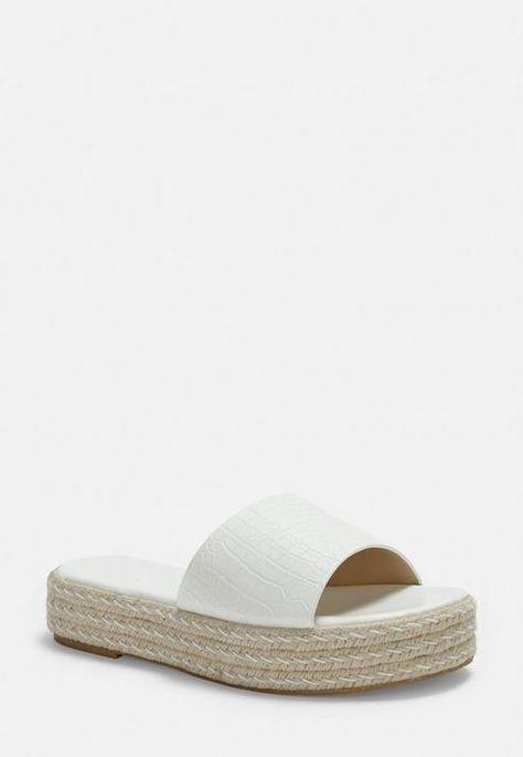 White Croc Jute Platform Mules