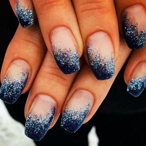 Nails, navy acrylic nails, blue and silver nails, glitter gradient nails,.