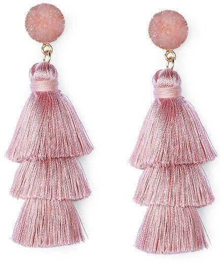 handmade jewellery Pink long tassel earrings birthday wedding fringe earrings