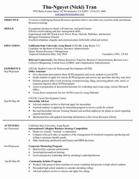Relevant Coursework Resume Example Inspirational Hr Resume In 2020 Resume Examples Human Resources Resume Hr Resume