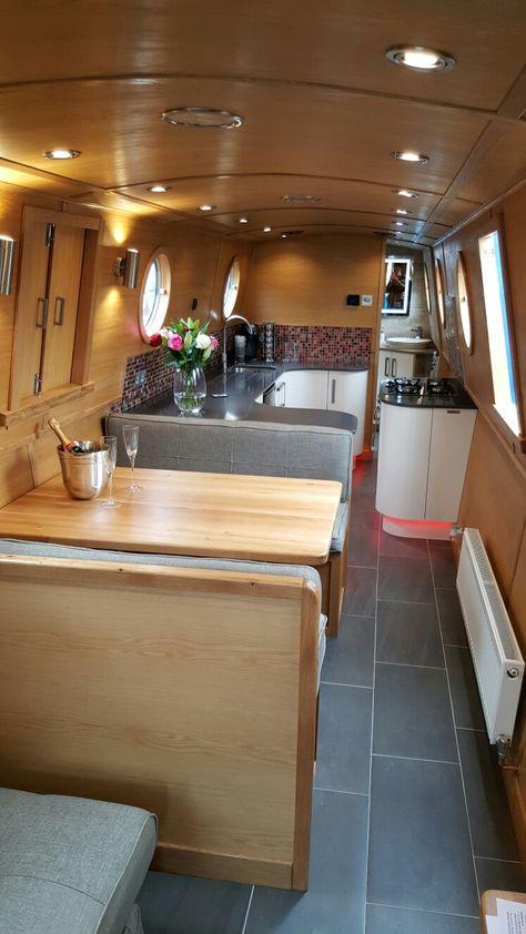 Saloon interior of Jon Buoy, built by bespoke-boats.com for the Crick boat show 2016