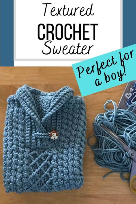 This gorgeous pullover crochet pattern for boys includes 7 sizes from baby to toddler. Designed with the Lion Brand Wool-Ease worsted weight yarn, this baby sweater is both soft and light. It has a beautiful mix of textures and a shawl collar. The pattern is more an intermediate level but with its easy step by step instructions, an adventurous beginner is also welcome to try it. #crochetsweater, #crochetsweaterpattern, #crochetbabysweater, #crochetpatterns, #crochetforbaby Crochet Cowl Free Pattern, Crochet Stitches, Crochet Hooks, Crochet Patterns, Crochet Toddler, Crochet Baby Clothes, Crochet For Boys, Crochet Cardigan, Knit Crochet