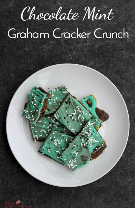 Chocolate Mint Graham Cracker Crunchis such an easy recipe to make and serves a crowd. It's a no-fail candy recipe perfect for holidays! #chocolatemint #chocolate #dessert #easyrecipe