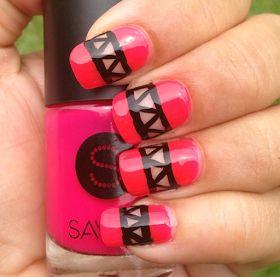 Hot Pink Aztec Cut Out Nails