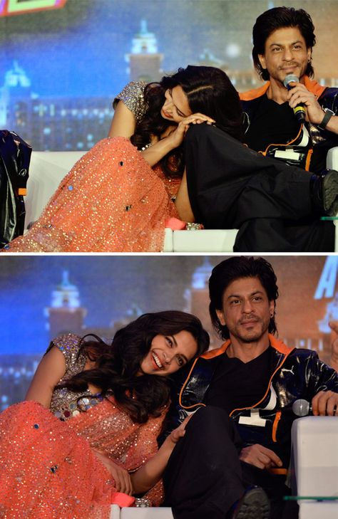 Deepika Padukone couldn't stop smiling about something Shah Rukh Khan apparently said at the trailer launch of 'Happy New Year'.