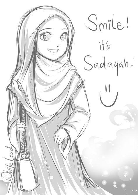 20 Gambar Sketsa Karya Sastra Anime Muslimah Anime Muslim Dan