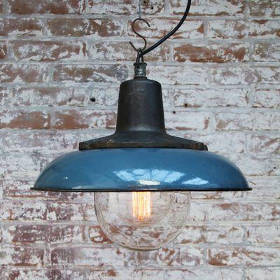 Vintage Industrial Blue Enamel Cast Iron Pendant Lamp For Sale At Pamono Iron Pendant Lamps Vintage Pendant Lighting Industrial Lamp Shade