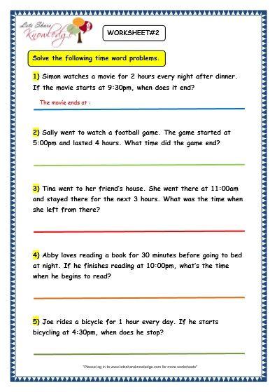 Grade 3 Maths Worksheets 8 5 Time Problems Lets Share Knowledge 3rd Grade Math Worksheets 3rd Grade Math Grade 5 Math Worksheets