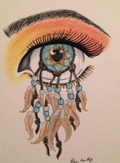"Dromen-Webje-Spinnen-Webzaken ~Tekening Dromenvanger ""Oog"" van krfrietze (Kati Frietze?) *Drawing Dreamcatcher Eye~"