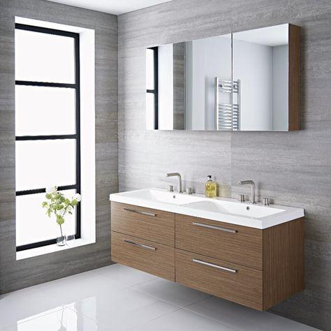 Langley 55 Oak Double Wall Mount Bathroom Vanity Floating