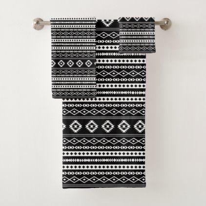 Aztec White On Black Mixed Motifs Sml Pattern Bath Towel Set Zazzle Com Patterned Bath Towels Towel Set White Bath Towels