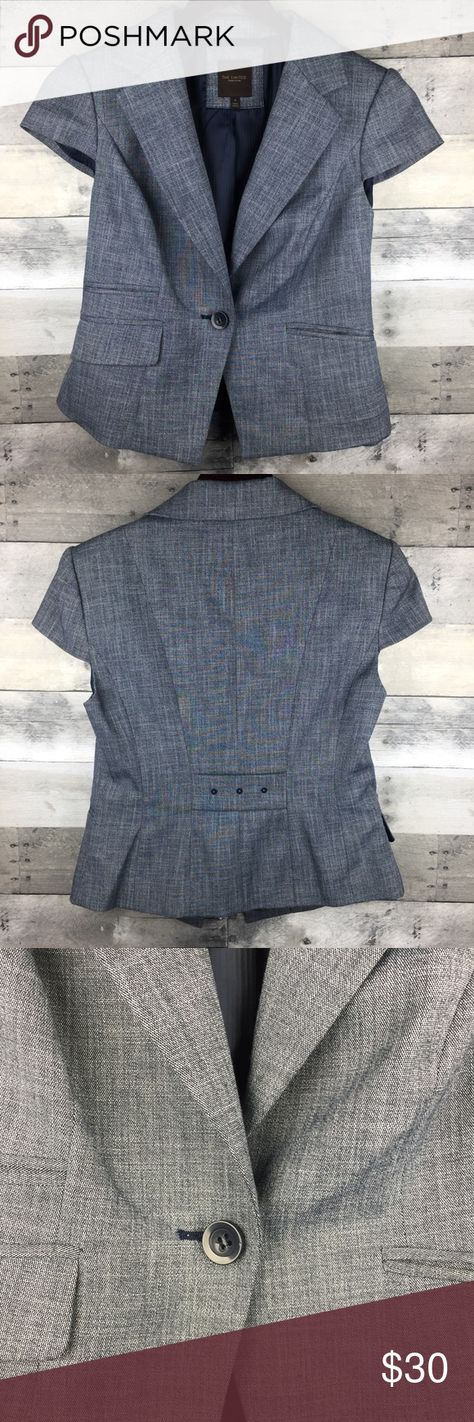 """The Limited Short Sleeve Blazer Jacket Suit Lined Womens Size M The Limited Short Sleeve Blazer Gray Career Jacket Suit Top Lined  Condition: Excellent Used Condition Tag Size: M Measurements: Armpit to armpit: 16"""" Length: 23"""" front; 20"""" back  Please follow me for more great items and sweet deals! Thank you for shopping! The Limited Jackets & Coats Blazers"""