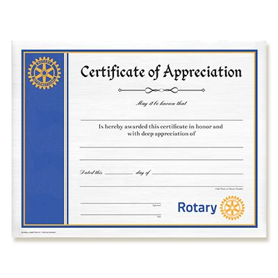 Russell Hampton Co Rotary Club Supplies Customized Certificate Of Appreciation Certificate Of Appreciation Rotary Club How To Memorize Things