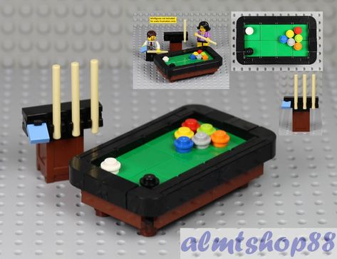 Details about LEGO - Pool Snooker Billiards Table Cue Stick - Black Brown Minifigure Furniture - R. T - Lego Lego Duplo, Lego Minifigure, Lego Modular, Lego Design, Lego Friends, Legos, Instructions Lego, Casa Lego, Lego City