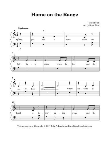 Home On The Range Free Piano Sheet Music For Beginners Easy
