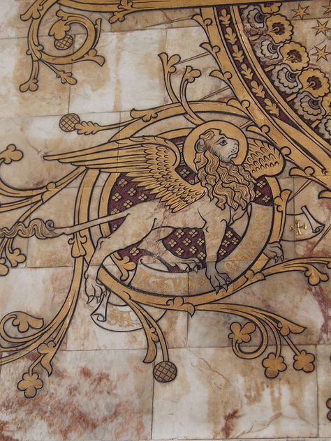 Winged Lion, Worcester Cathedral by Aidan McRae Thomson Medieval Life, Medieval Art, Medieval Manuscript, Illuminated Manuscript, Worcester Cathedral, Book Of Kells, Arte Horror, Celtic Art, Foto Art
