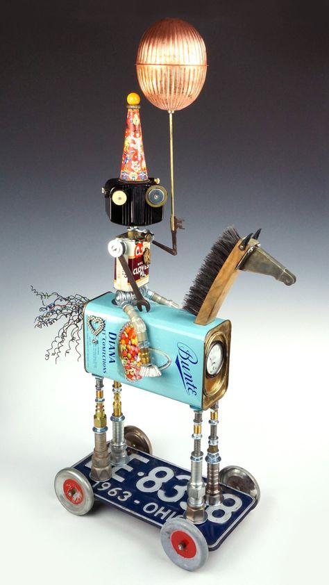 Rollin', Rollin', Roland Series by Amy Flynn (Mixed-Media Sculpture) Tin Can Art, Tin Art, Recycled Art Projects, Metal Art Projects, Mixed Media Sculpture, Sculpture Art, Found Object Art, Found Art, Collage Art