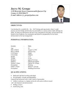 Example Of Resume Format For Ojt In 2020 Job Resume Examples Job Letter Resume Cover Letter Template
