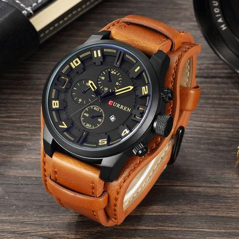Trendy Military Quartz Mens Watch, Luxury Leather Men's Casual Sport Watch Relogio Masculino Product Description: - Men's Fashion & Casual Quartz Alloy Watch. - Water Resistant, Complete Calendar Band Length: 22cm Clasp Type: Buckle Water Resistance Depth: 3Bar Dial Diameter: 46mm Boxes & Cases Material: Paper Dial Window Material Type: Hardlex Case Shape: Round Band Material Type: Leather Band Width: 20mm Case Thickness: 12mm