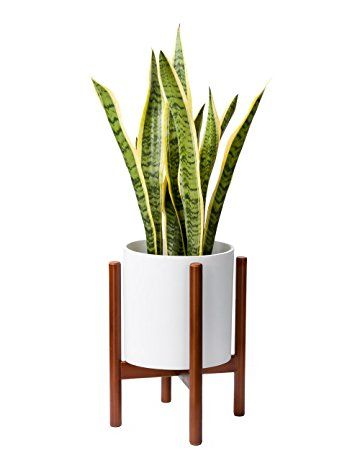 Mkono Plant Stand Mid Century Wood Flower Pot Holder Display Potted Rack Rustic Home Decor 10 Inch Pla Wooden Plant Stands Flower Pot Holder Plant Pot Holders