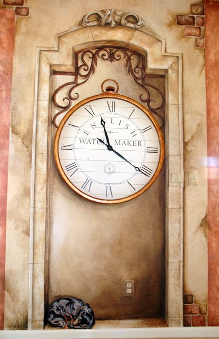 Mural of recessed niche to house an antique clock and family dog