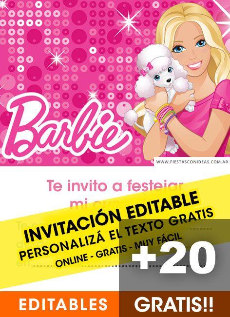 20 Tarjetas De Cumpleaños De Barbie Gratis Para Editar