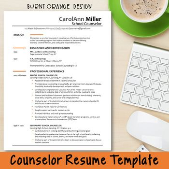 Counselor Resume Template--Burnt Orange Design Perfect resume - counselor resume
