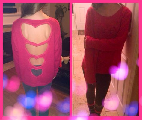 DIY cutout descending heart sweater for valentines day