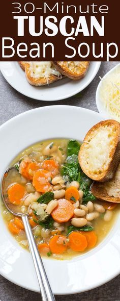 Creamy tuscan white bean soup this creamy and delicious bean soup italian white beans kale or spinach carrots onion celery simple and satisfying weeknight dinner tuscan bean soup recipe from sisterspd