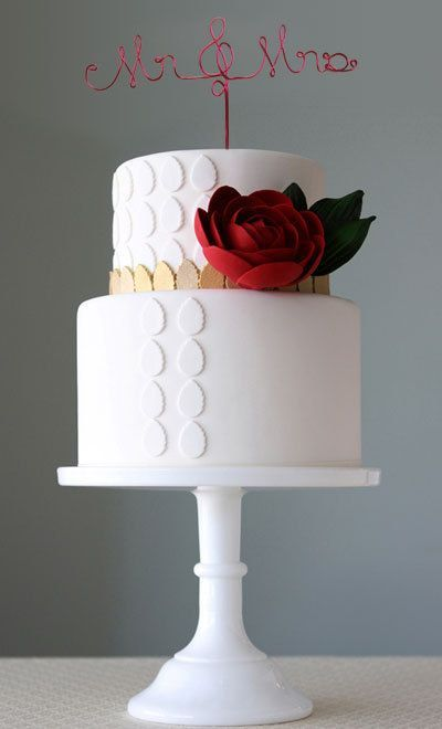Two Tiered White Cake with White and Gold Polka Dots, Deep Red Rose by charm city cakes west