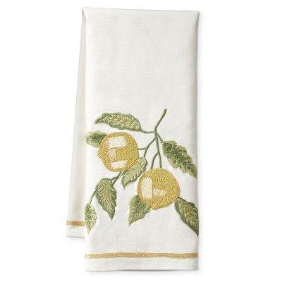 Crewel Embroidered Towel Lemon Williamssonoma Embroidered Towels Towel Turkish Cotton Towels