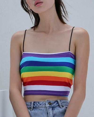 852bfe309f0 Rainbow striped cami tank tops for lady summer crop tops   rainbow t ...