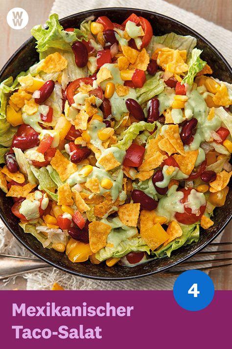 Der mexikanische Taco-Salat mit Avocadodressing (4 SmartPoints) schmeckt genauso lecker wie er aussieht und geht auch ganz fix. WW Deutschland (ehemals Weight Watchers) | WW Rezept | Weight Watchers Rezept
