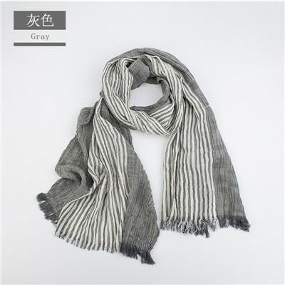 Winter Scarf Men Warm Soft Tassel Bufandas Cachecol Gray Woven Cotton Scarves