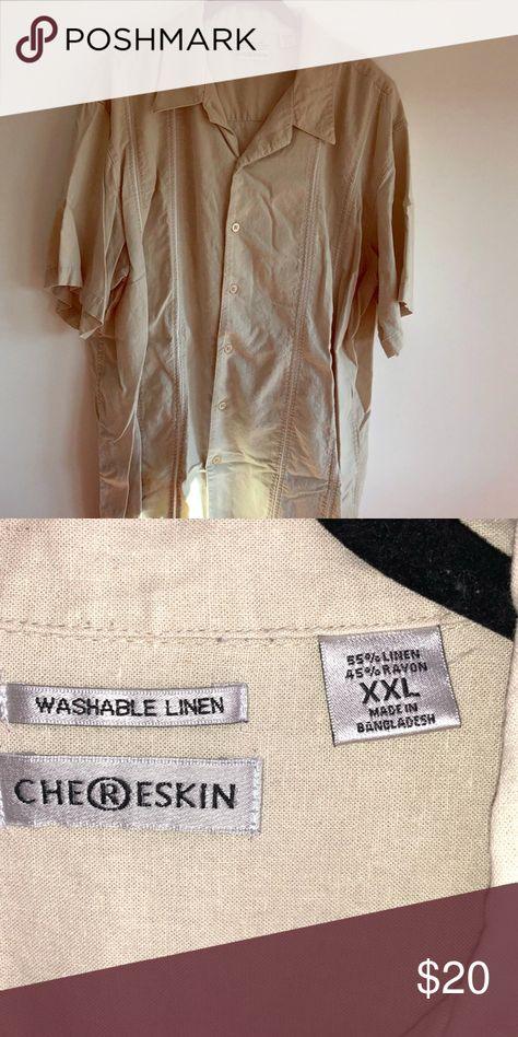 3ce778d5c Men's cream short sleeve dress shirt Size XXL Men's Chereskin cream colored  dress shirt. Collared with shirt sleeves. Button down. Washable linen.