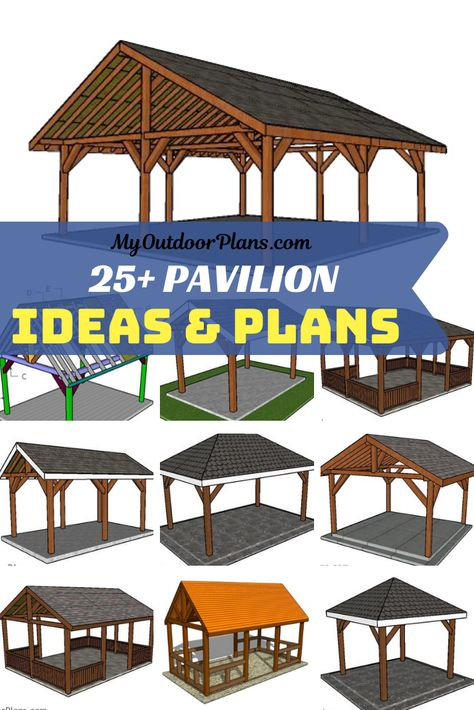 This is a collection of free pavilion designs and ideas, so you can build that shelter for you backyard where you can spend relaxing time. The free pavilion plans come with diagrams, instructions and Wooden Pavilion, Glass Pavilion, Backyard Pavilion, Outdoor Pavilion, Outdoor Gazebos, Backyard Gazebo, Backyard Patio Designs, Backyard Landscaping, Wooded Backyard Landscape