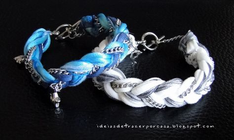 mixed media bracelet in white