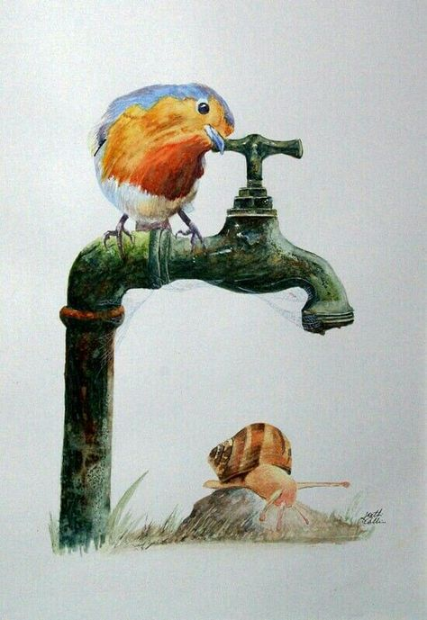 Robin On Old Water Tap Watercolor By Keith Collins Art