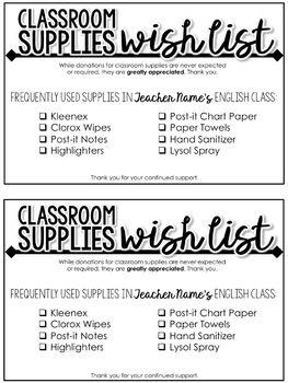 Classroom Supplies Wish List Editable Supply List For Secondary