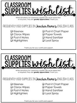 Classroom Supplies Wish List Editable Supply List For Secondary