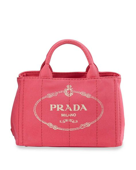 f03e2adf2d3e03 Prada Canvas Logo Tote with Strap Pink #womensbags