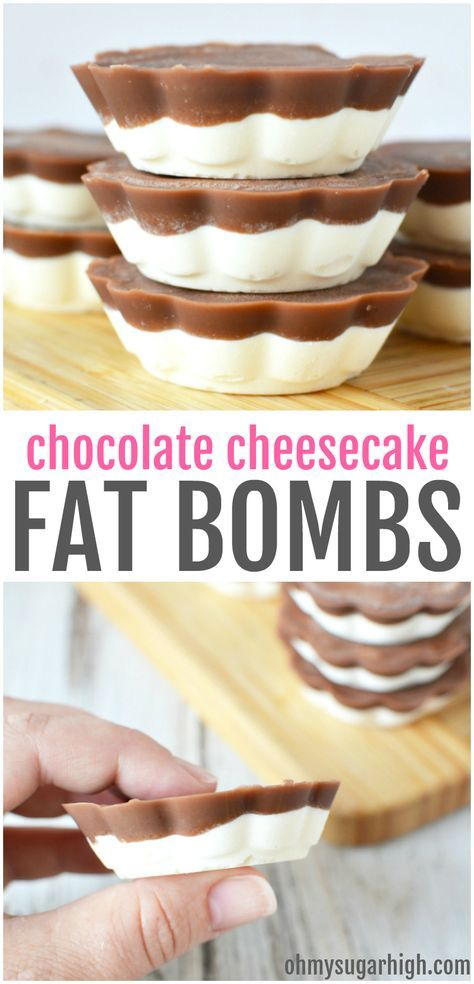 This chocolate cheesecake fat bomb recipe is the perfect way to help you maintain your keto lifestyle! Made with coconut oil, you'll love this two layered keto fat bomb with cream cheese to have on hand for a tasty snack when you need it most. Keto Cheesecake, Cream Cheese Cheesecake, Chocolate Cheesecake Recipes, Cheesecake Brownies, Keto Fat, Low Carb Keto, Low Carb Desserts, Low Carb Recipes, Peanut Butter