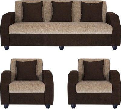 Bharat Lifestyle Italia Fabric 3 1 1 Cream Brown Sofa Set Configuration Straight Brown Sofa Set Sofa Set Furniture