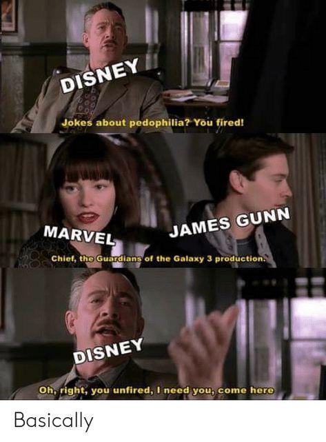DISNEY Jokes About Pedophilia? You Fired! MARVEL JAMES GUNN